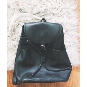 Vintage Leather Drawstring & Flap Backpack